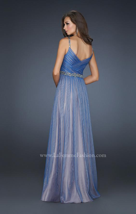 Picture of: V Neck Prom Gown with Beaded Waistband and Pleats, Style: 17324, Back Picture
