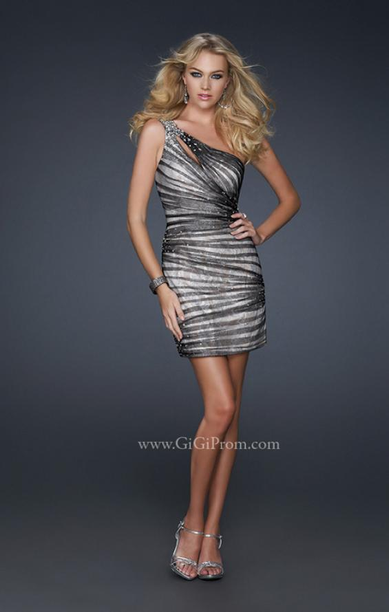 Picture of: One Shoulder Cocktail Dress with Beaded Waist Detail, Style: 17365, Detail Picture 1