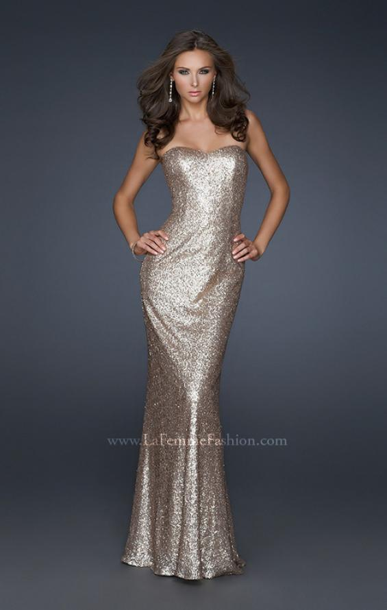 Picture of: Mermaid Inspired Prom Dress with Open Back in Gold, Style: 17368, Main Picture