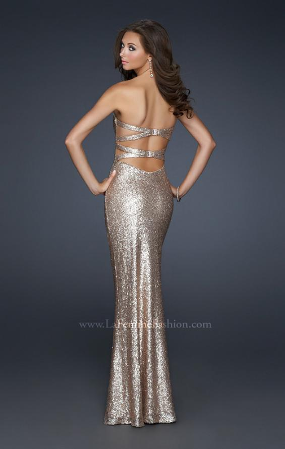 Picture of: Mermaid Inspired Prom Dress with Open Back in Gold, Style: 17368, Back Picture
