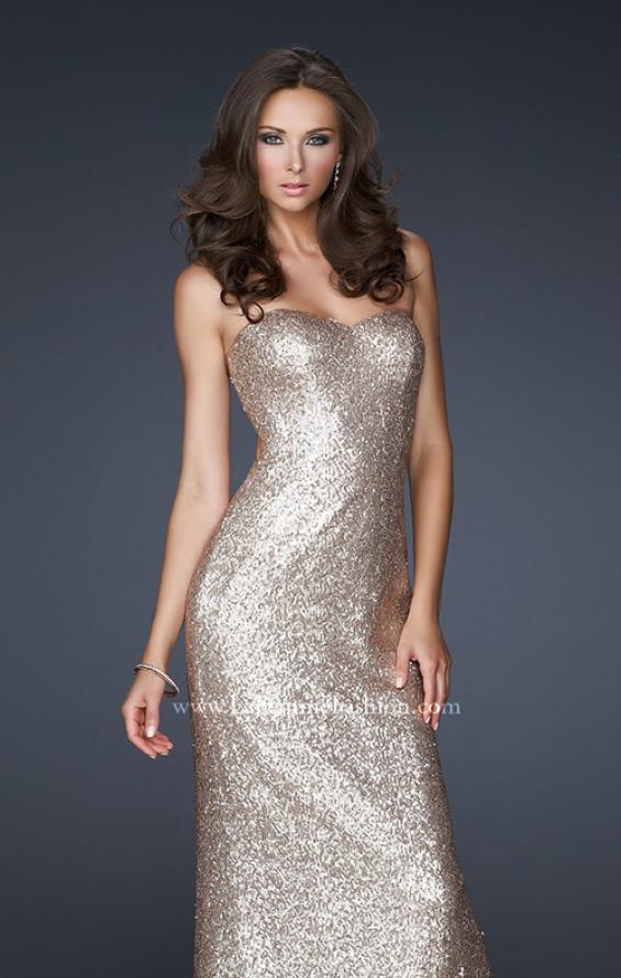 Picture of: Mermaid Inspired Prom Dress with Open Back in Gold, Style: 17368, Detail Picture 2