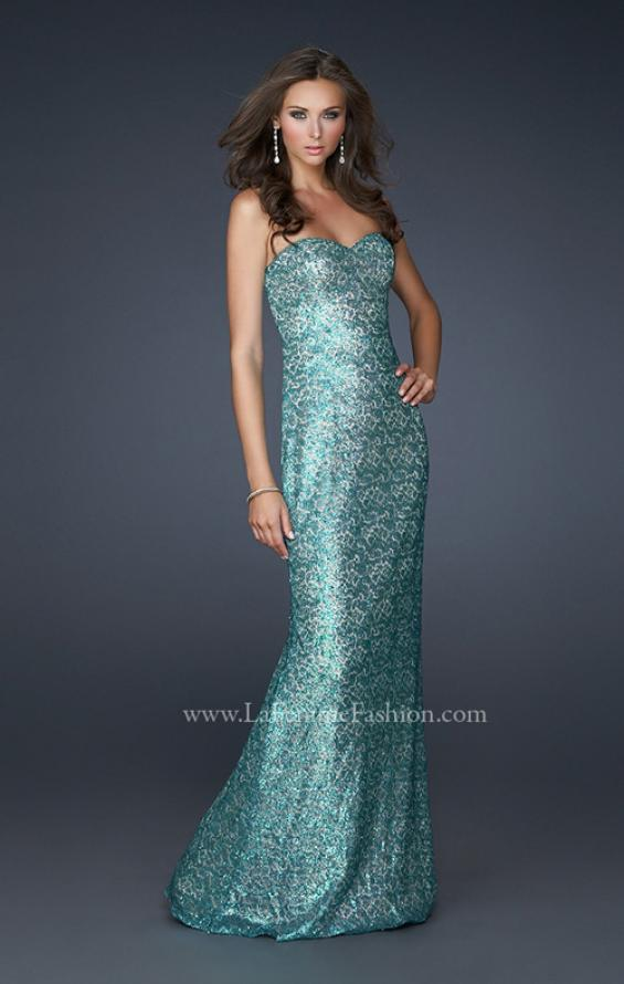 Picture of: Strapless Sequined Prom Dress with Bottom Flare in Blue, Style: 17369, Main Picture