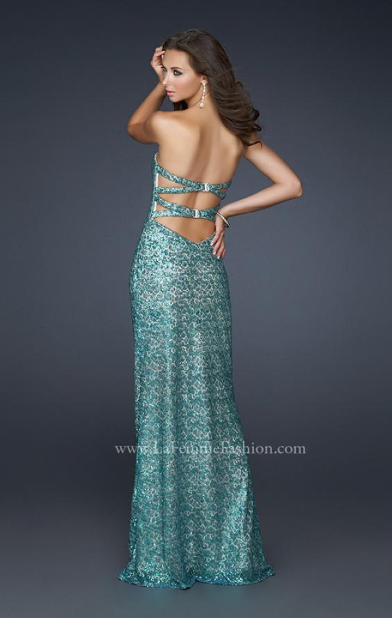 Picture of: Strapless Sequined Prom Dress with Bottom Flare in Blue, Style: 17369, Back Picture