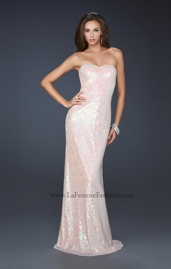 Picture of: Strapless Sequined Prom Dress with Bottom Flare in Pink, Style: 17369, Detail Picture 1