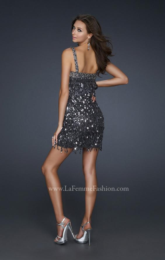 Picture of: Short Sequined Cocktail Dress with Straight Cut Neck in Silver, Style: 17370, Back Picture