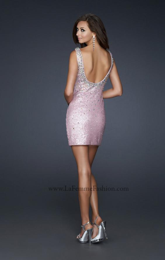 Picture of: Scoop Neck Cocktail Dress with All Over Sequins in Pink, Style: 17413, Back Picture