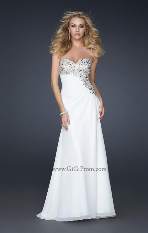 Picture of: Strapless Chiffon Prom Gown with Gathering and Beads in White, Style: 17424, Main Picture