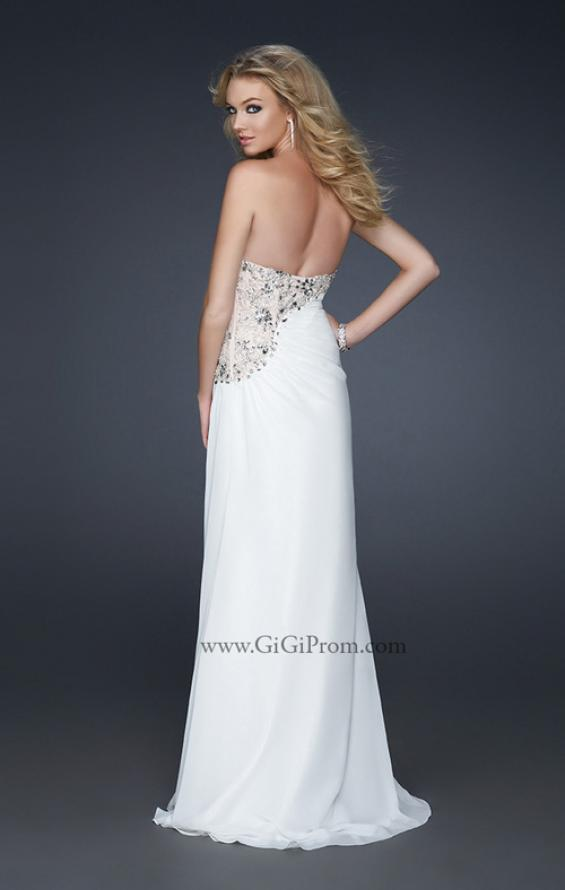 Picture of: Strapless Chiffon Prom Gown with Gathering and Beads in White, Style: 17424, Back Picture