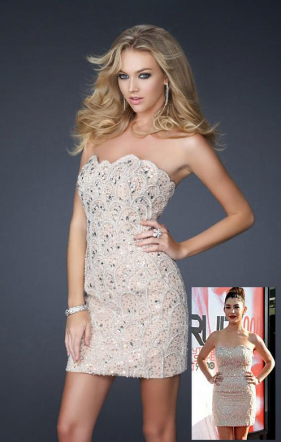 Picture of: Short Sequined Strapless Dress with Detailed Beading in Nude, Style: 17426, Main Picture
