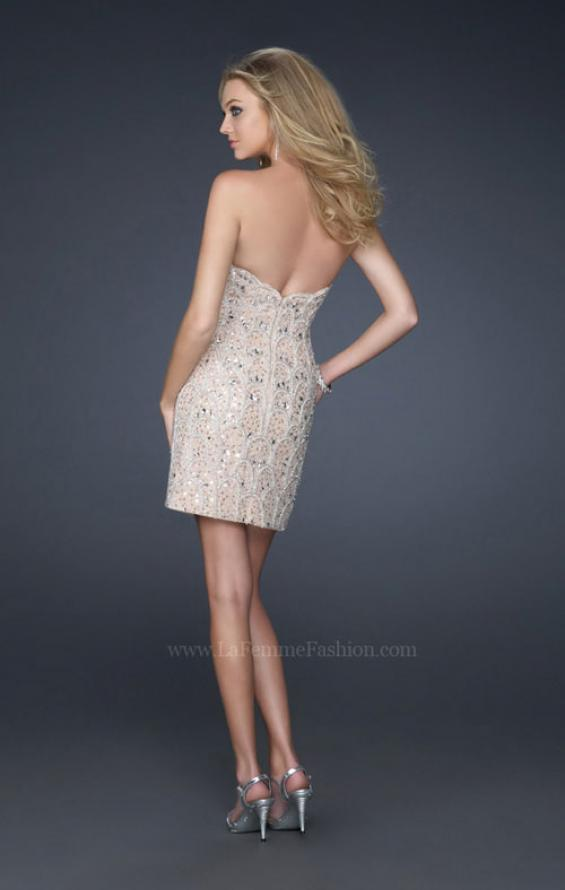 Picture of: Short Sequined Strapless Dress with Detailed Beading in Nude, Style: 17426, Back Picture