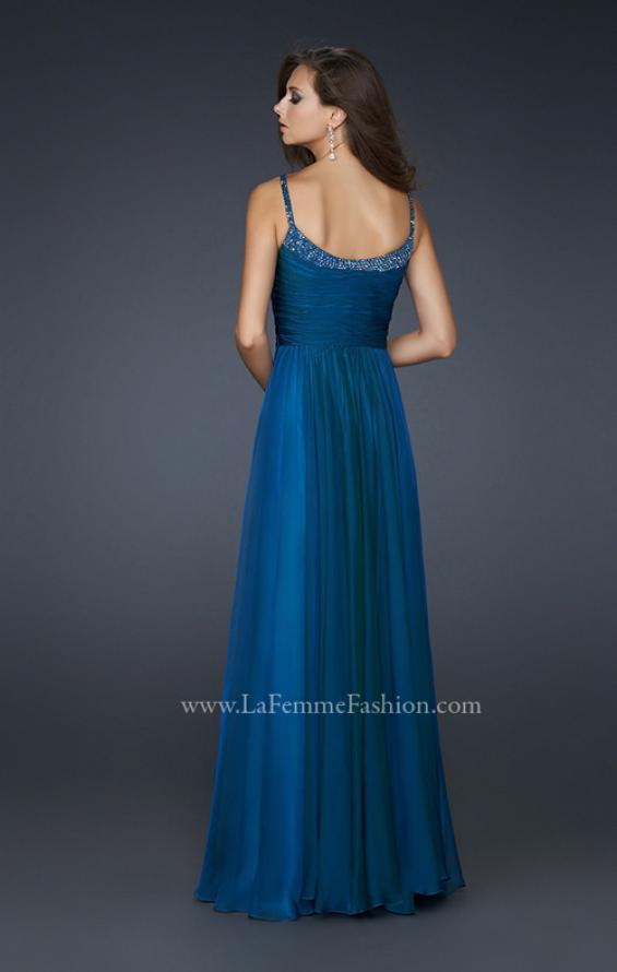 Picture of: Scoop Neck Chiffon Prom Dress with Pleated Center Front in Blue, Style: 17435, Back Picture