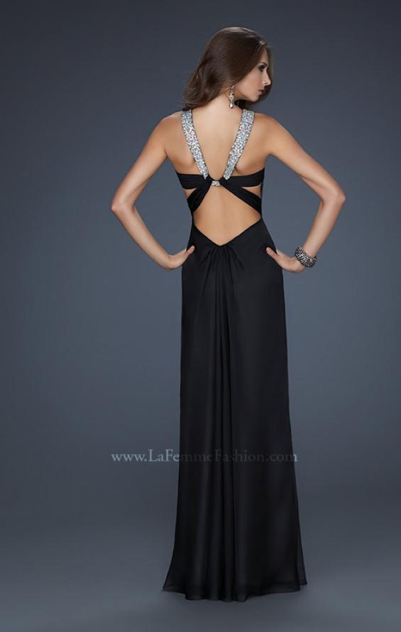 Picture of: Halter Top Dress with Beaded Straps and A-line Skirt in Black, Style: 17441, Detail Picture 1