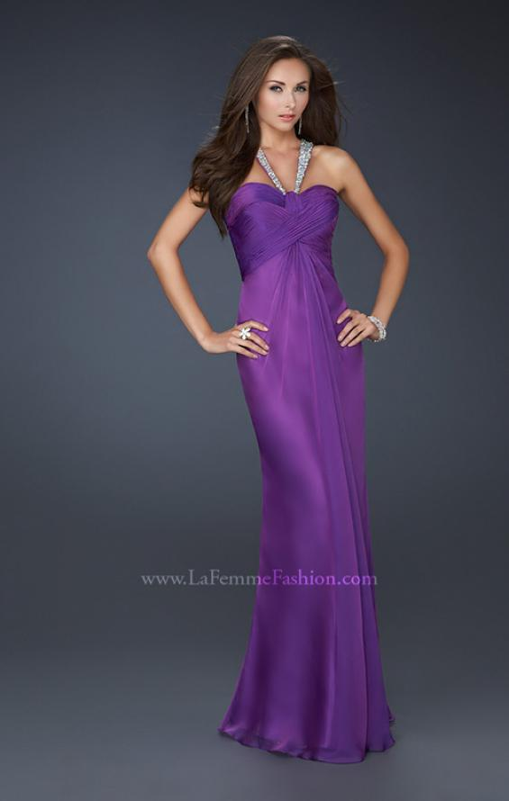 Picture of: Halter Top Dress with Beaded Straps and A-line Skirt in Purple, Style: 17441, Detail Picture 2