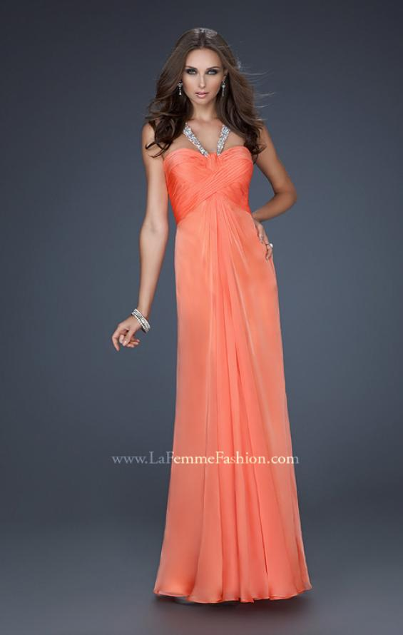 Picture of: Halter Top Dress with Beaded Straps and A-line Skirt in Orange, Style: 17441, Detail Picture 3