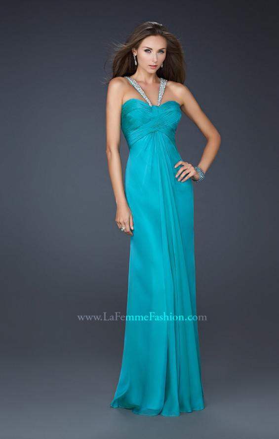 Picture of: Halter Top Dress with Beaded Straps and A-line Skirt in Blue, Style: 17441, Detail Picture 4