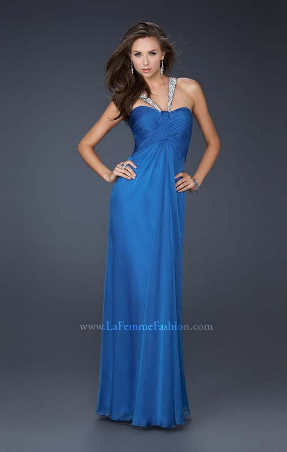 Picture of: Halter Top Dress with Beaded Straps and A-line Skirt in Blue, Style: 17441, Detail Picture 5