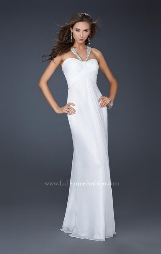 Picture of: Halter Top Dress with Beaded Straps and A-line Skirt in White, Style: 17441, Detail Picture 6