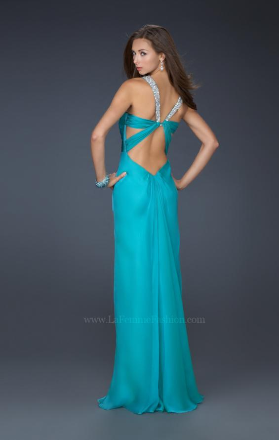 Picture of: Halter Top Dress with Beaded Straps and A-line Skirt in Blue, Style: 17441, Detail Picture 7