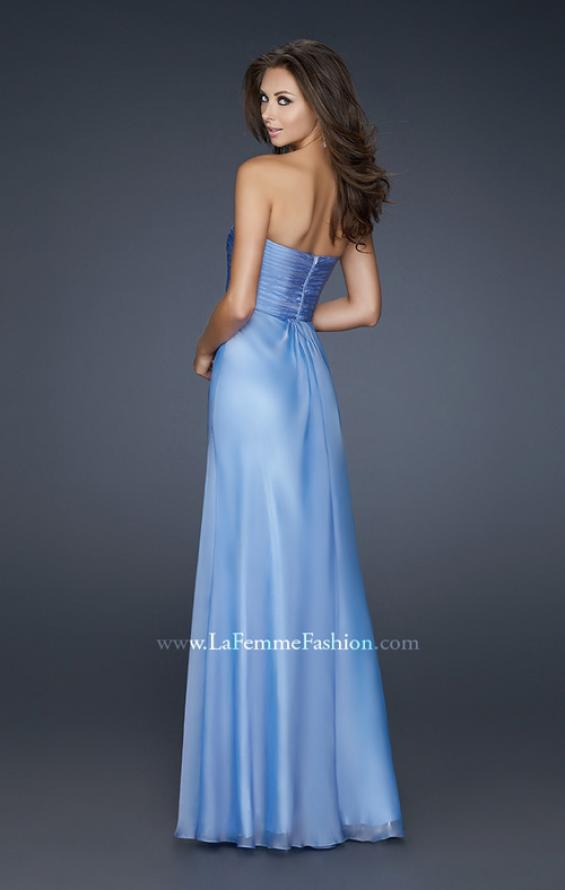 Picture of: Strapless Chiffon Gown with Elegant Draped Fit, Style: 17443, Back Picture
