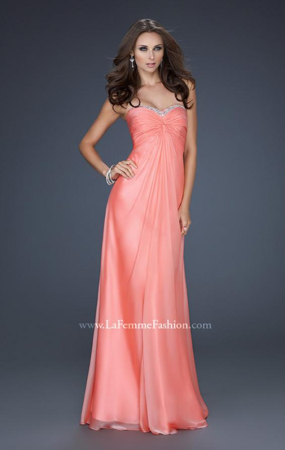 Picture of: Strapless Chiffon Gown with Elegant Draped Fit, Style: 17443, Detail Picture 1