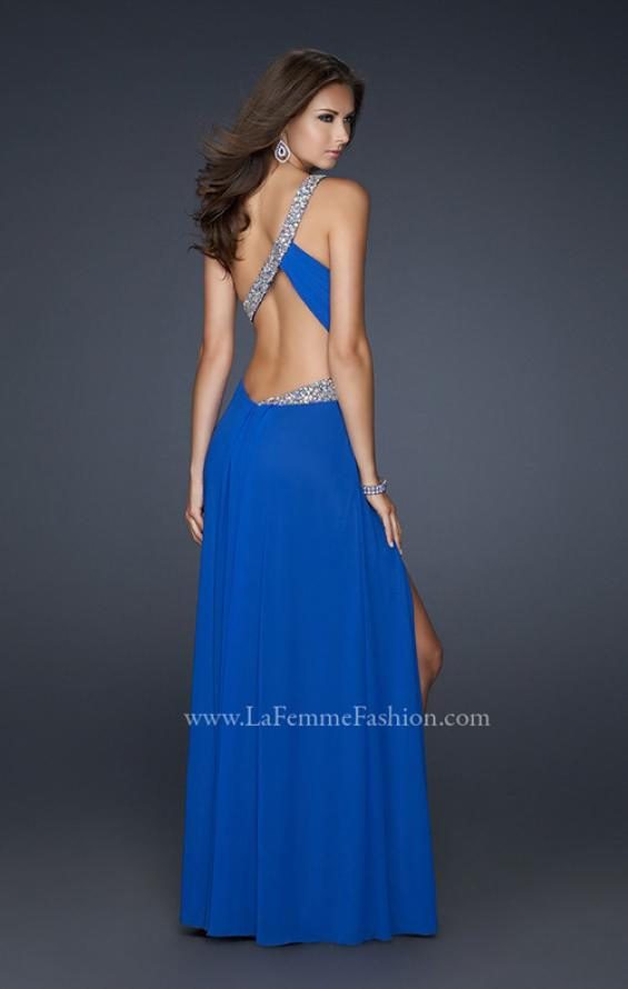 Picture of: One Shoulder Strap Net Dress with Open Back and Beads in Blue, Style: 17445, Back Picture
