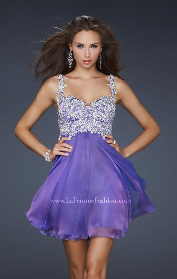 Picture of: Chiffon Cocktail Dress with Lace Bust Embellishment, Style: 17446, Main Picture