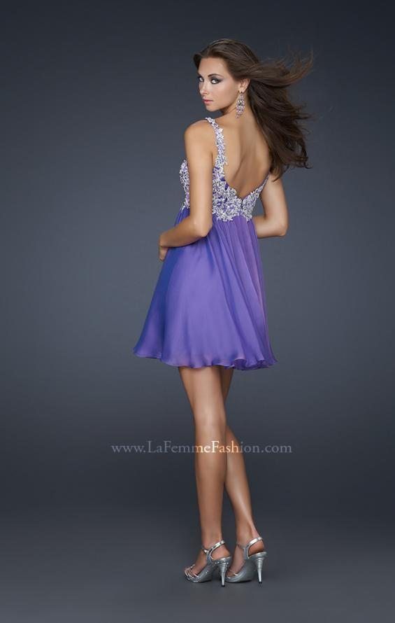 Picture of: Chiffon Cocktail Dress with Lace Bust Embellishment, Style: 17446, Back Picture