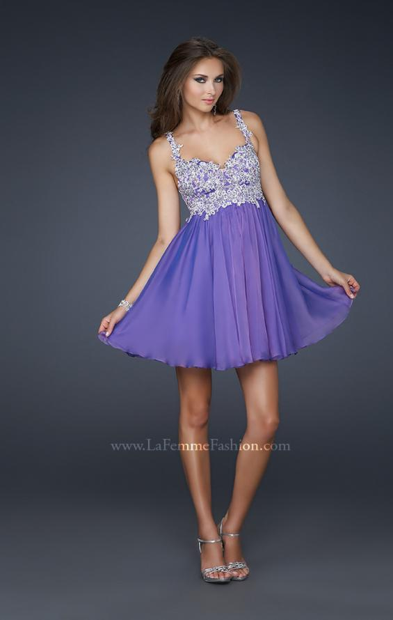 Picture of: Chiffon Cocktail Dress with Lace Bust Embellishment, Style: 17446, Detail Picture 2