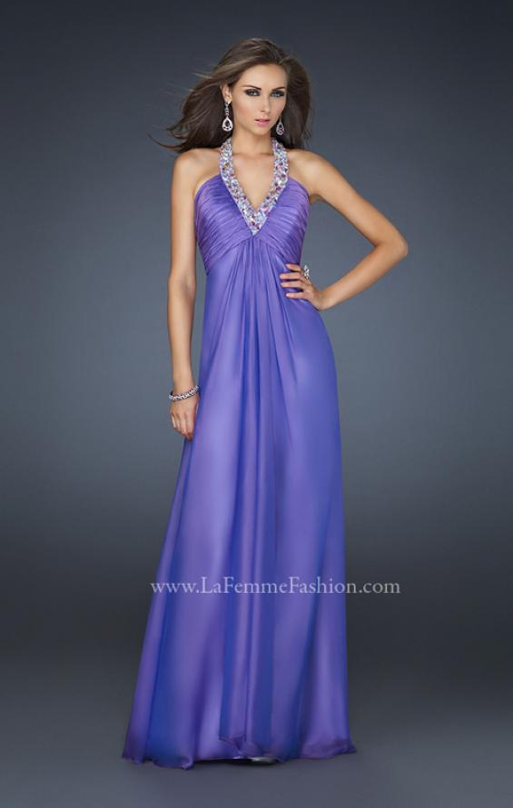 Picture of: Full Length Halter Top Gown with Pleated Bust and Beads, Style: 17448, Main Picture