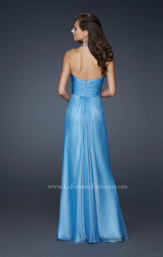 Picture of: Full Length Halter Top Gown with Pleated Bust and Beads, Style: 17448, Back Picture