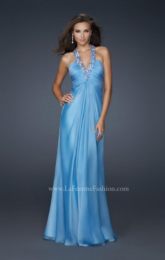 Picture of: Full Length Halter Top Gown with Pleated Bust and Beads, Style: 17448, Detail Picture 1