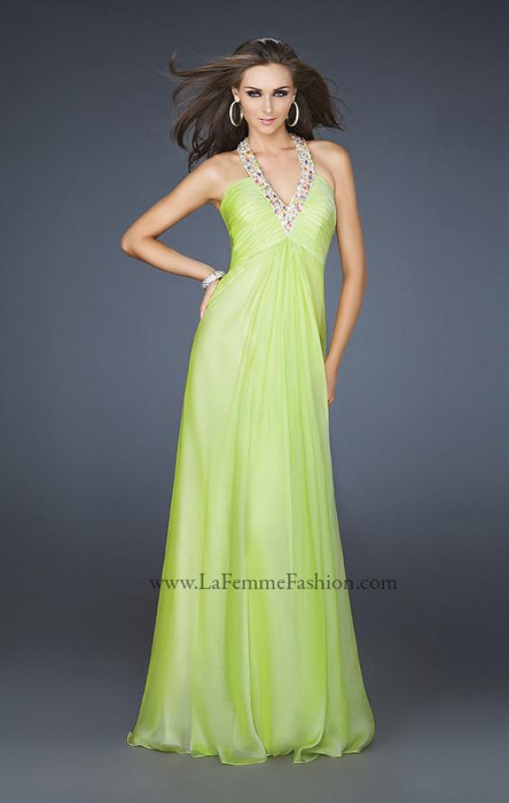 Picture of: Full Length Halter Top Gown with Pleated Bust and Beads, Style: 17448, Detail Picture 2