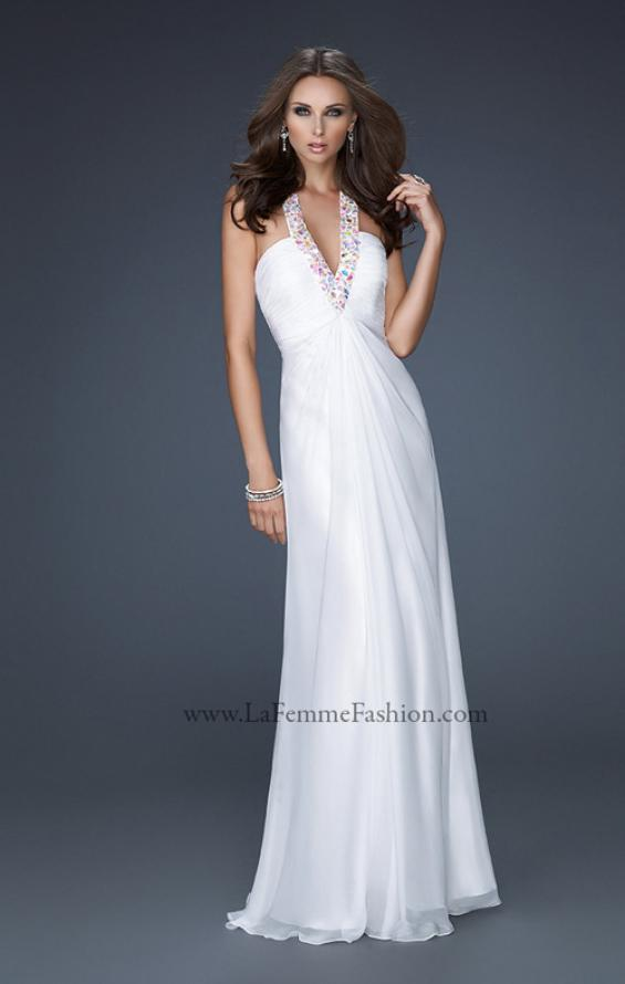Picture of: Full Length Halter Top Gown with Pleated Bust and Beads, Style: 17448, Detail Picture 4