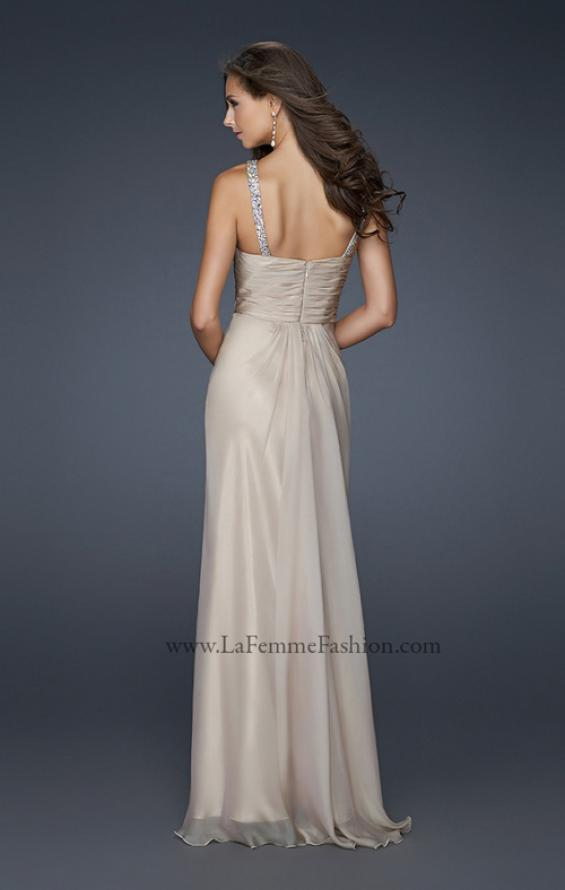 Picture of: Halter Top Dress with Beaded Straps and Draped Effect in Nude, Style: 17452, Back Picture
