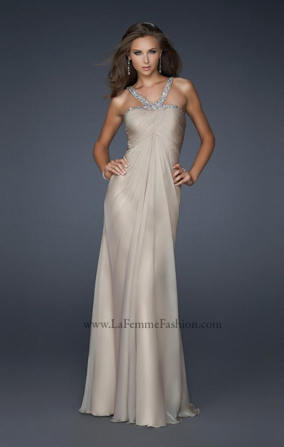 Picture of: Halter Top Dress with Beaded Straps and Draped Effect in Nude, Style: 17452, Detail Picture 1