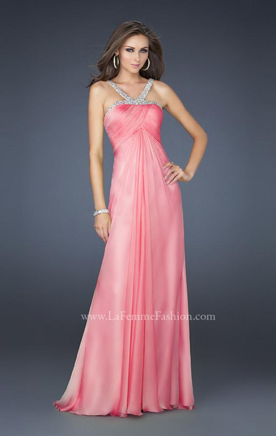 Picture of: Halter Top Dress with Beaded Straps and Draped Effect in Pink, Style: 17452, Detail Picture 2