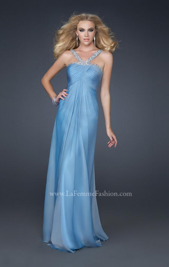 Picture of: Halter Top Dress with Beaded Straps and Draped Effect in Blue, Style: 17452, Detail Picture 3