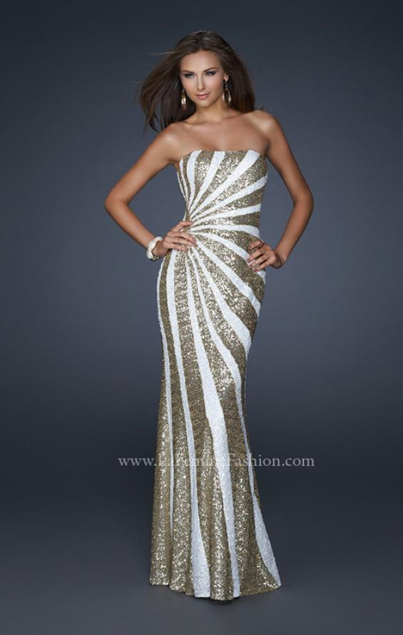 Picture of: Strapless Floor Length Gown with Gorgeous Sequin Detail in White, Style: 17456, Main Picture