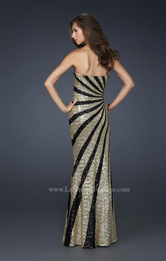 Picture of: Strapless Floor Length Gown with Gorgeous Sequin Detail in Gold, Style: 17456, Back Picture