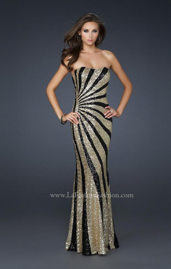 Picture of: Strapless Floor Length Gown with Gorgeous Sequin Detail in Gold, Style: 17456, Detail Picture 1