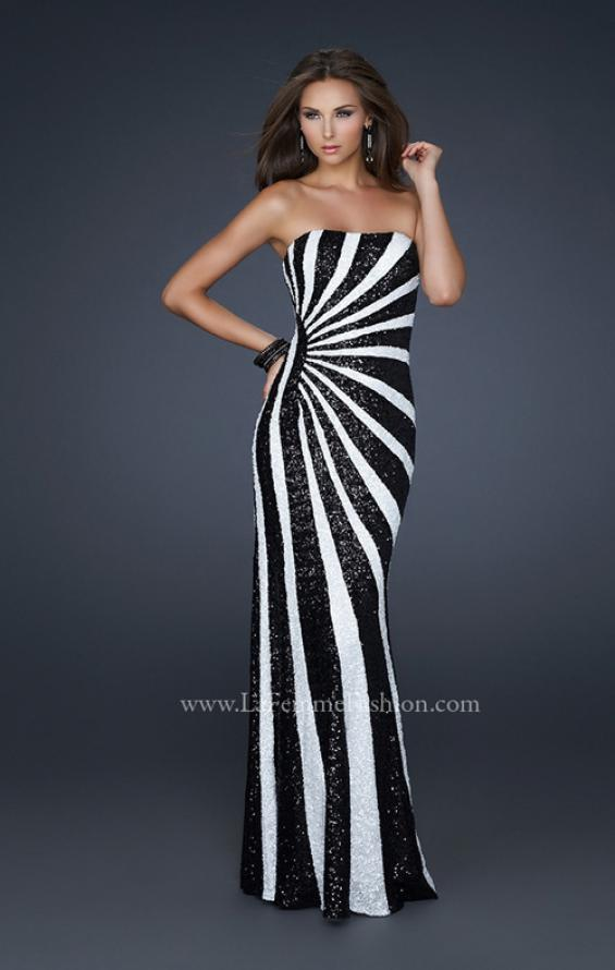 Picture of: Strapless Floor Length Gown with Gorgeous Sequin Detail in Black, Style: 17456, Detail Picture 2