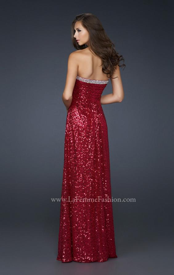 Picture of: Full Length Sequin Prom Gown with Gathered Detail, Style: 17458, Back Picture