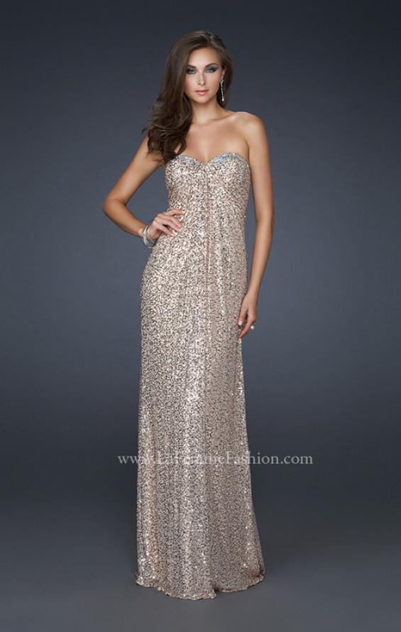Picture of: Full Length Sequin Prom Gown with Gathered Detail, Style: 17458, Detail Picture 1