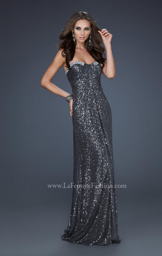 Picture of: Full Length Sequin Prom Gown with Gathered Detail, Style: 17458, Detail Picture 2
