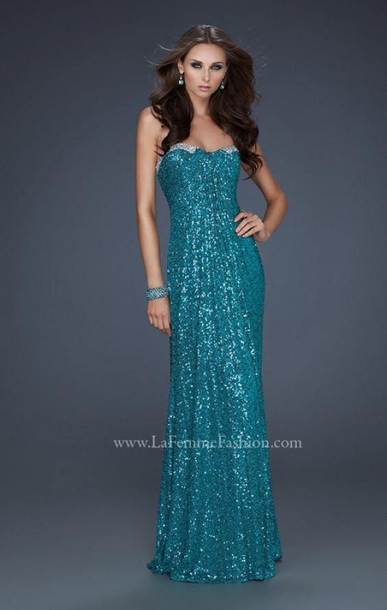 Picture of: Full Length Sequin Prom Gown with Gathered Detail, Style: 17458, Detail Picture 3