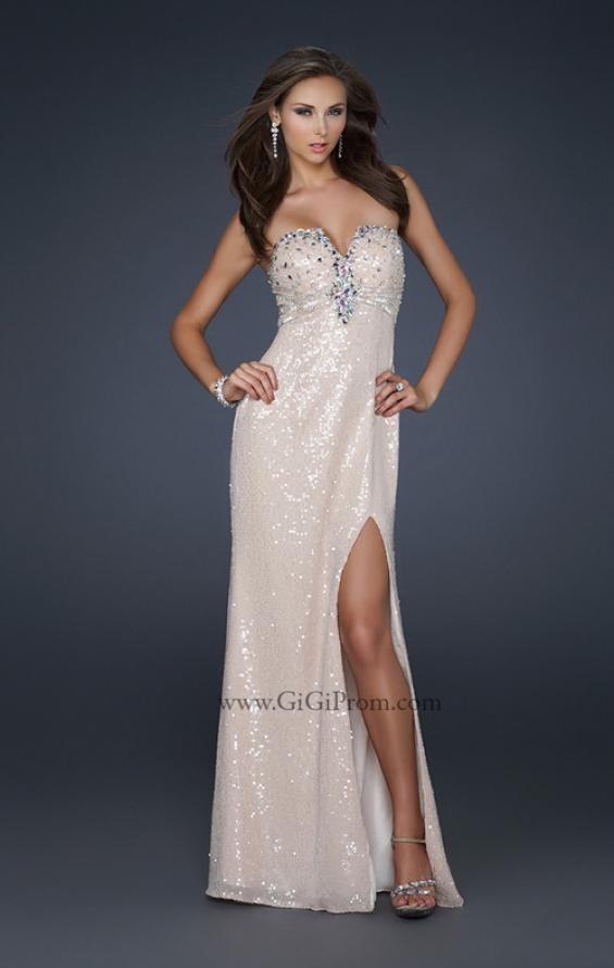 Picture of: Sexy Strapless Sequined Prom Dress with Beading and Slit in Nude, Style: 17466, Main Picture