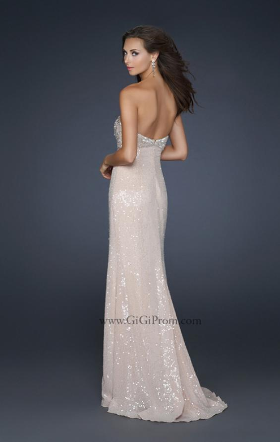 Picture of: Sexy Strapless Sequined Prom Dress with Beading and Slit in Nude, Style: 17466, Back Picture