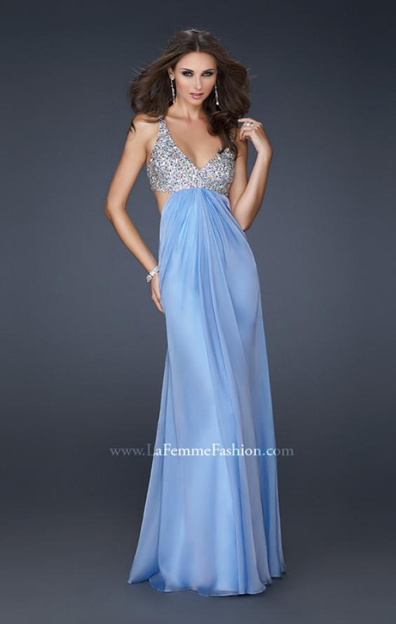 Picture of: Full Length Chiffon Gown with Beaded Bra Shaped Top in Blue, Style: 17472, Main Picture