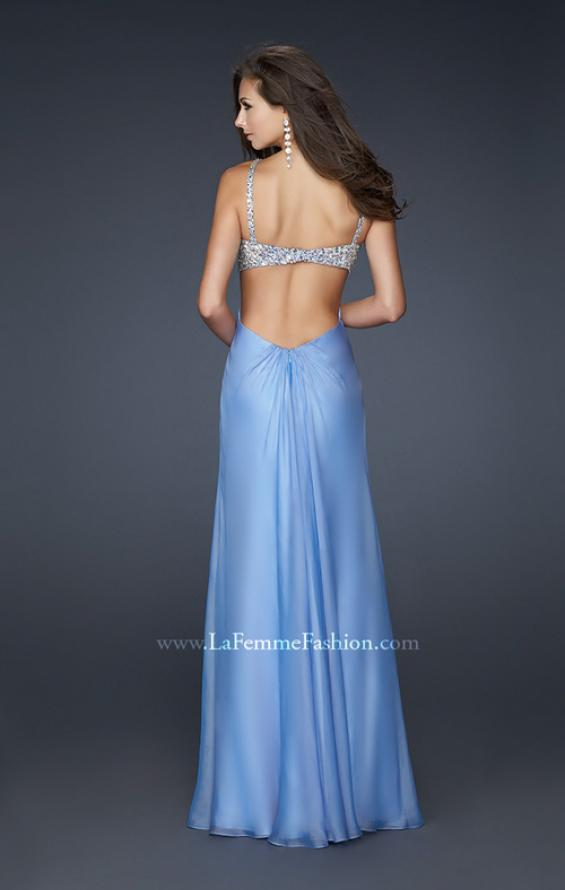 Picture of: Full Length Chiffon Gown with Beaded Bra Shaped Top in Blue, Style: 17472, Back Picture
