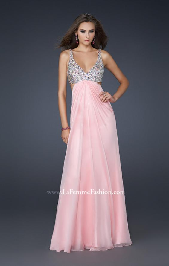 Picture of: Full Length Chiffon Gown with Beaded Bra Shaped Top in Pink, Style: 17472, Detail Picture 1